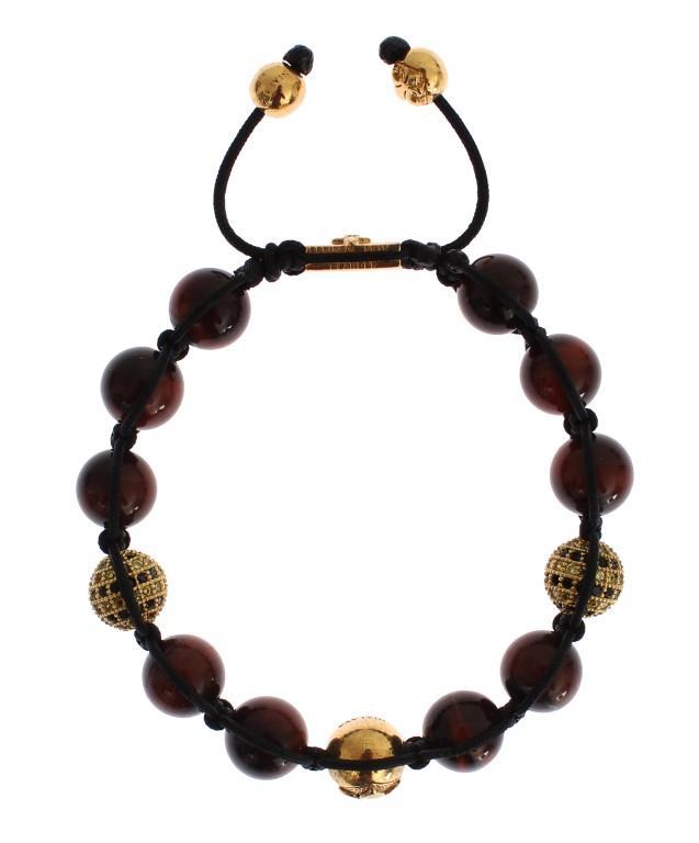 Nialaya Women's CZ Red Tigers Eye Gold 925 Bracelet Red SIG19020 - S