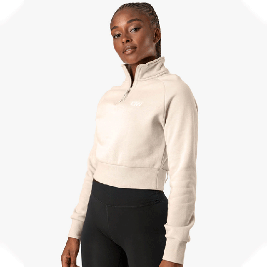 Essential Cropped Sweater, Beige