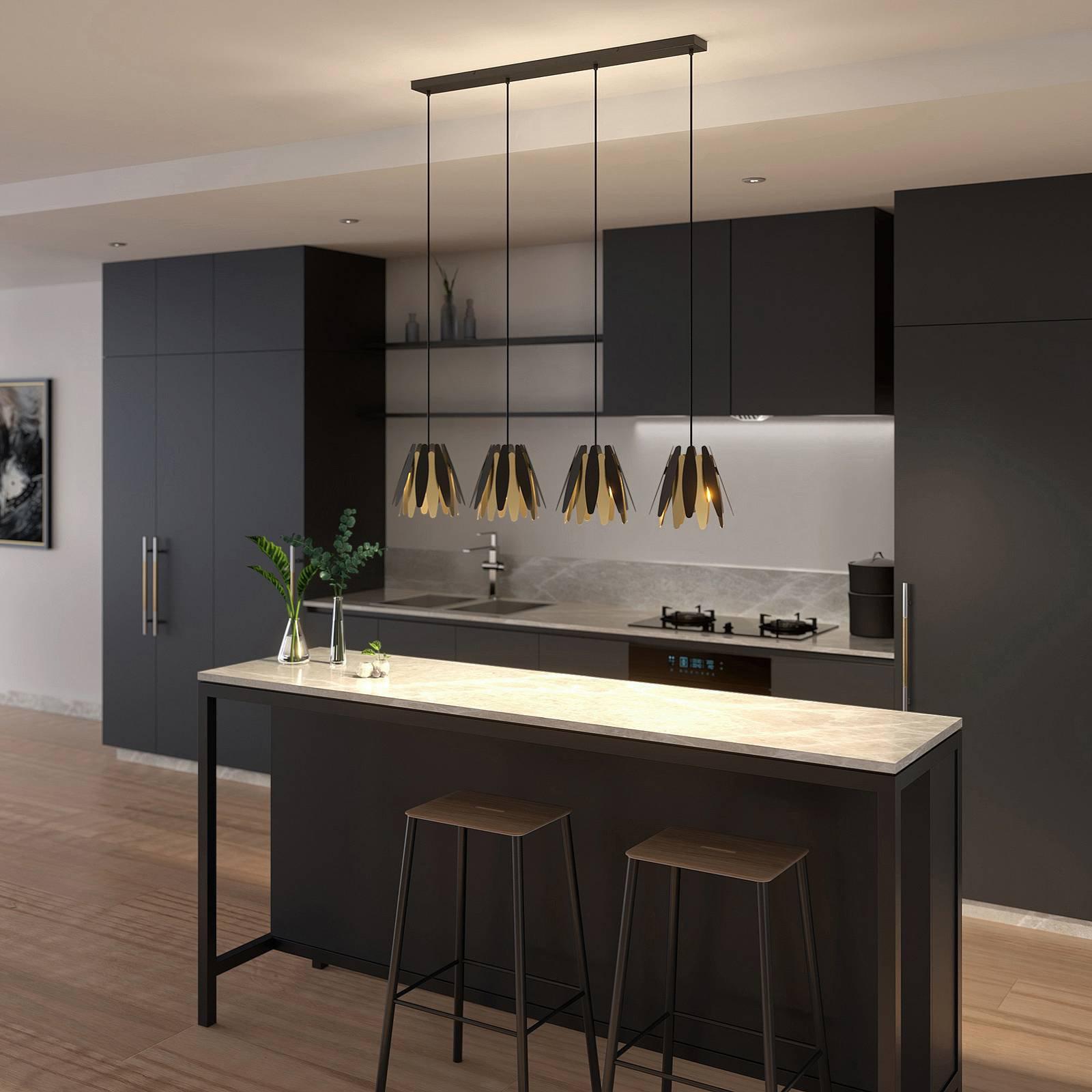 Lucande Lounit hengelampe, svart-gull, 4 lyskilde