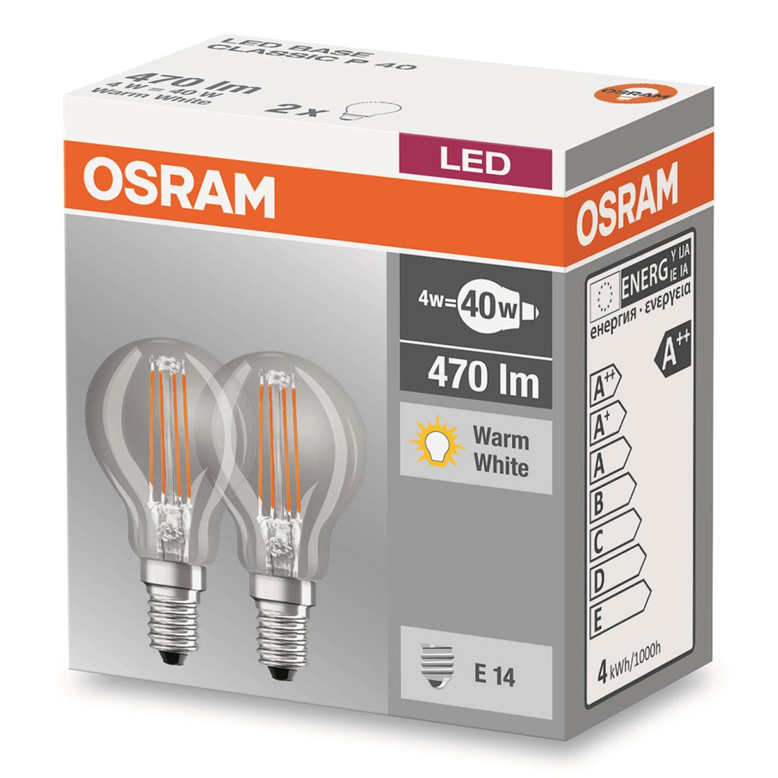 E14 4W 827 LED-pisaralamppu 2 kpl:n setti