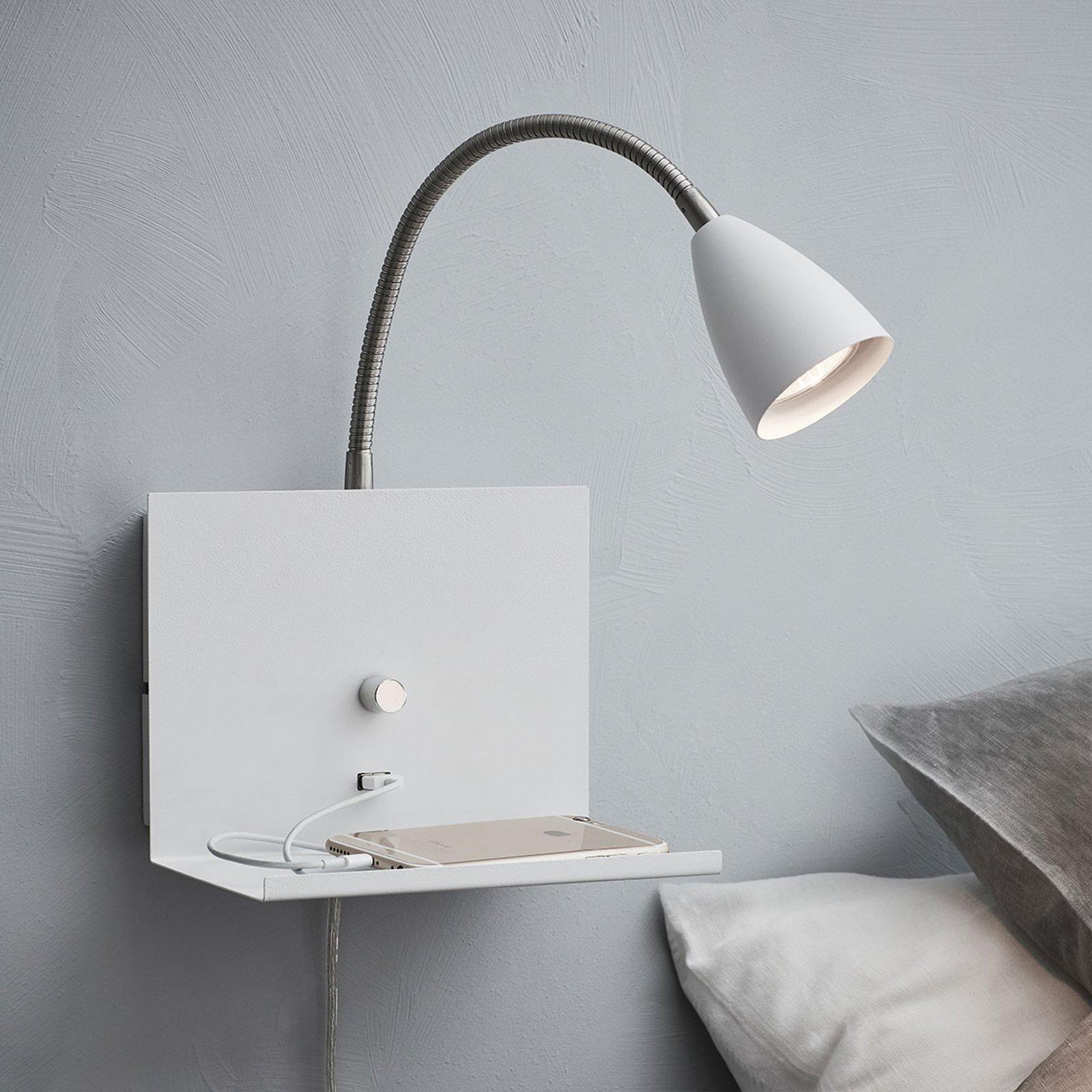 Vegglampe Logi med hylle, hvit