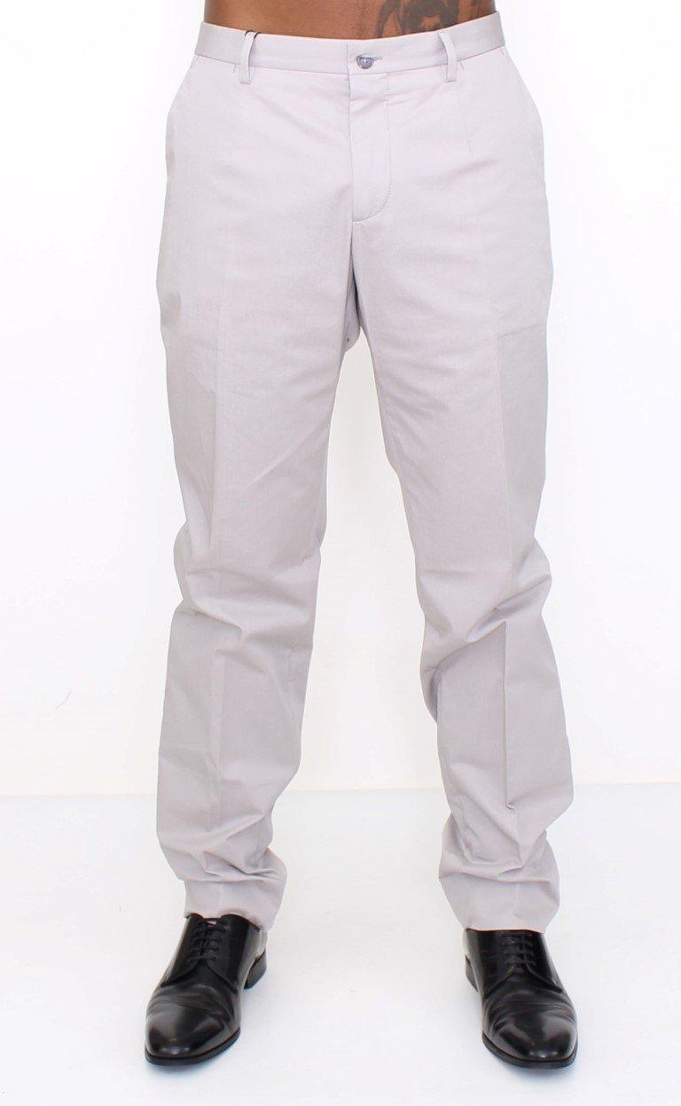 Dolce & Gabbana Men's Cotton Slim fit Pants Trouser Gray HAN10240 - IT54 | XXL