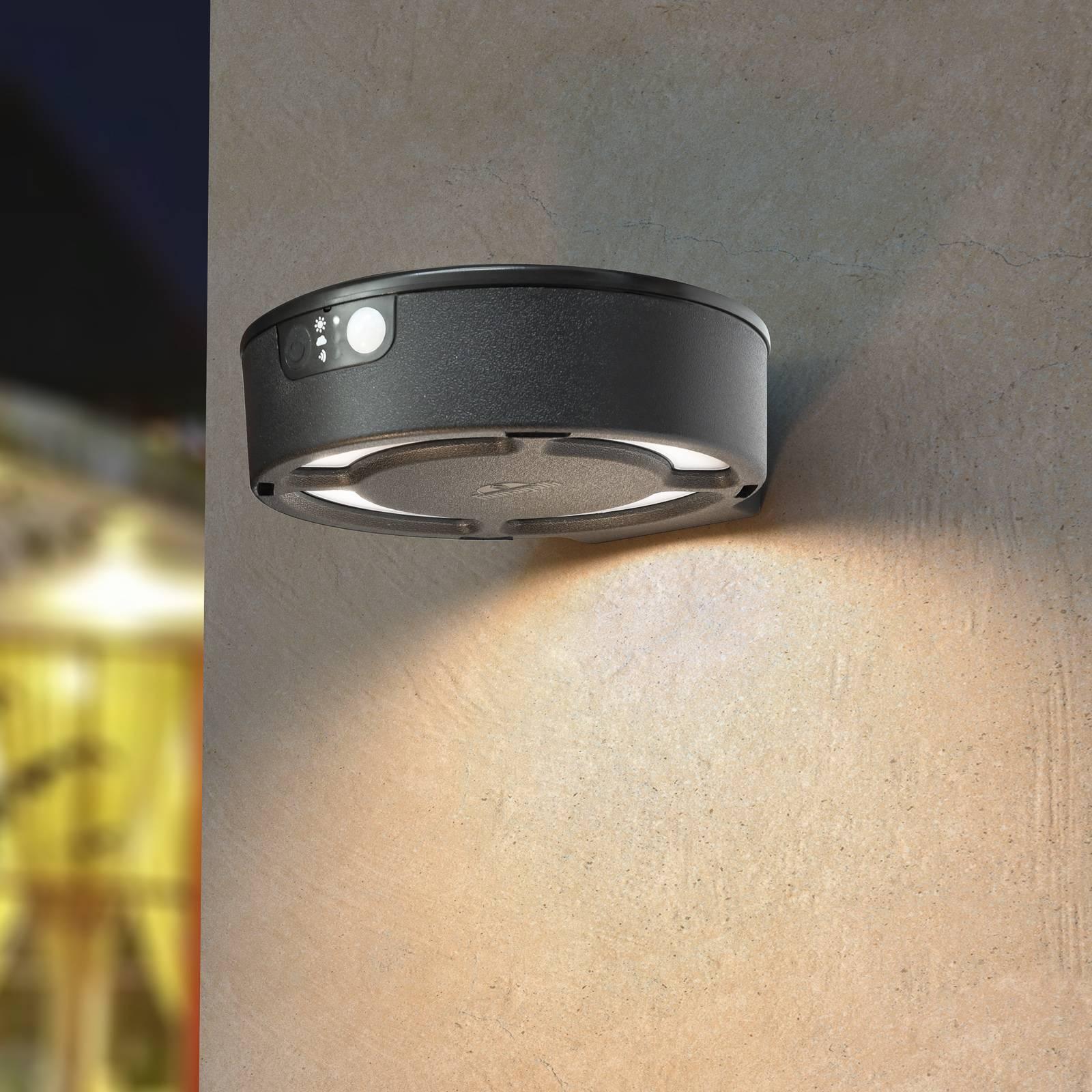 LED-aurinkoseinälamppu Fortunato musta, CCT sensor