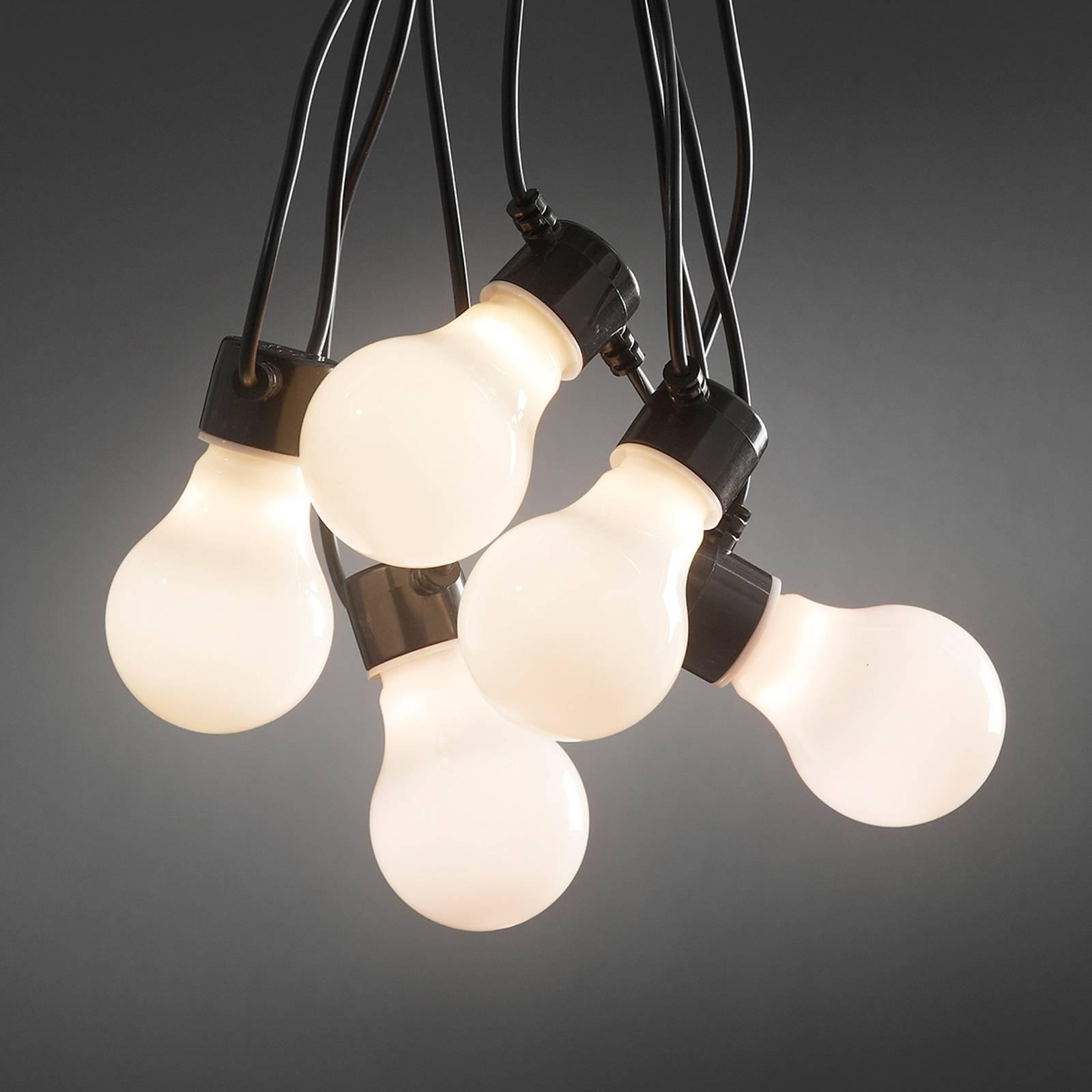 Opaali LED-lamppujen valoketju ulos 10-lamppuinen