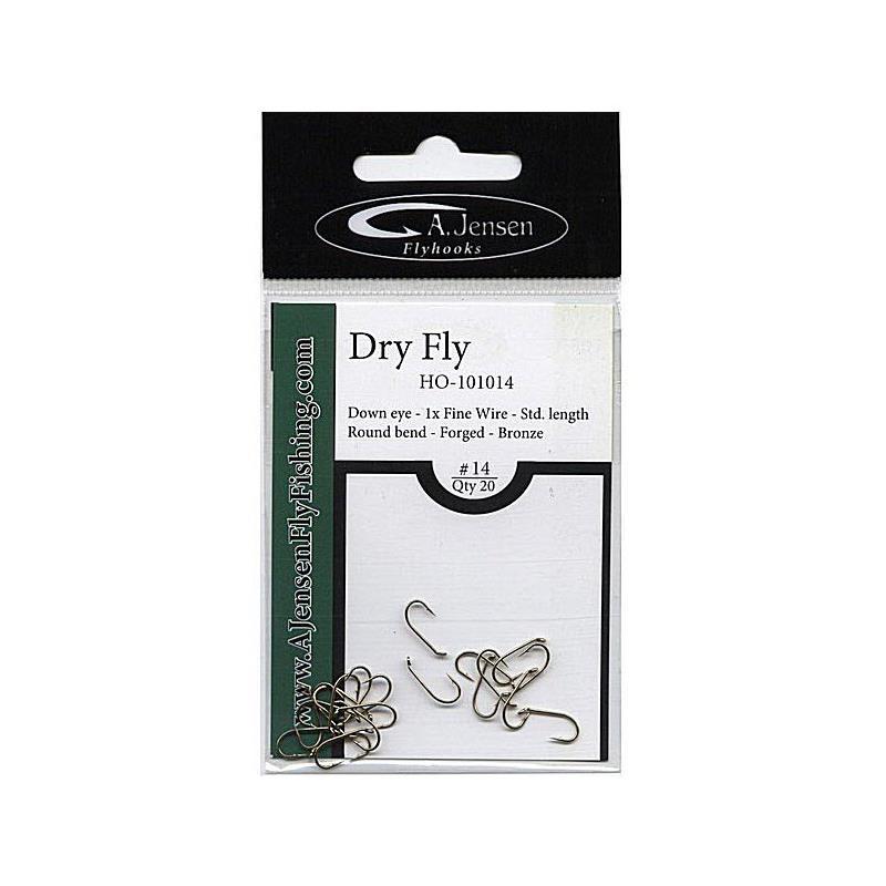 A.Jensen Dry Fly #20 20stk - Tørrfluekrok