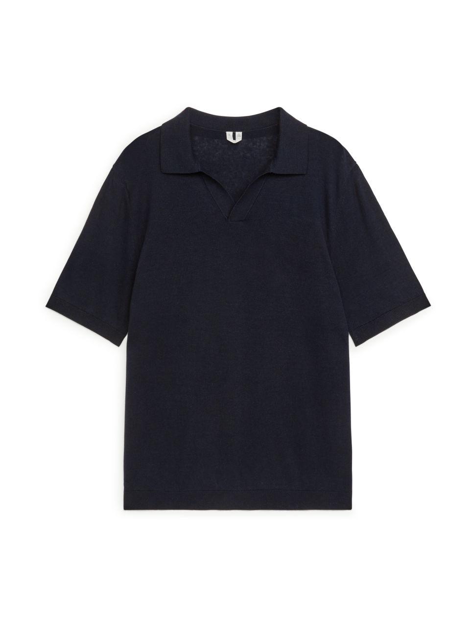 Cotton Linen Polo Shirt - Blue