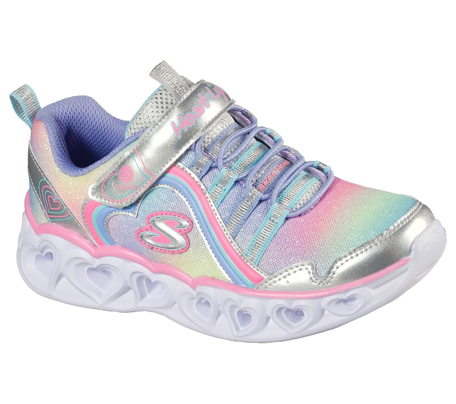Skechers Kid's Heart Lights Rainbow Lux Trainer Various Colours 32089 - Silver/Multi 9.5