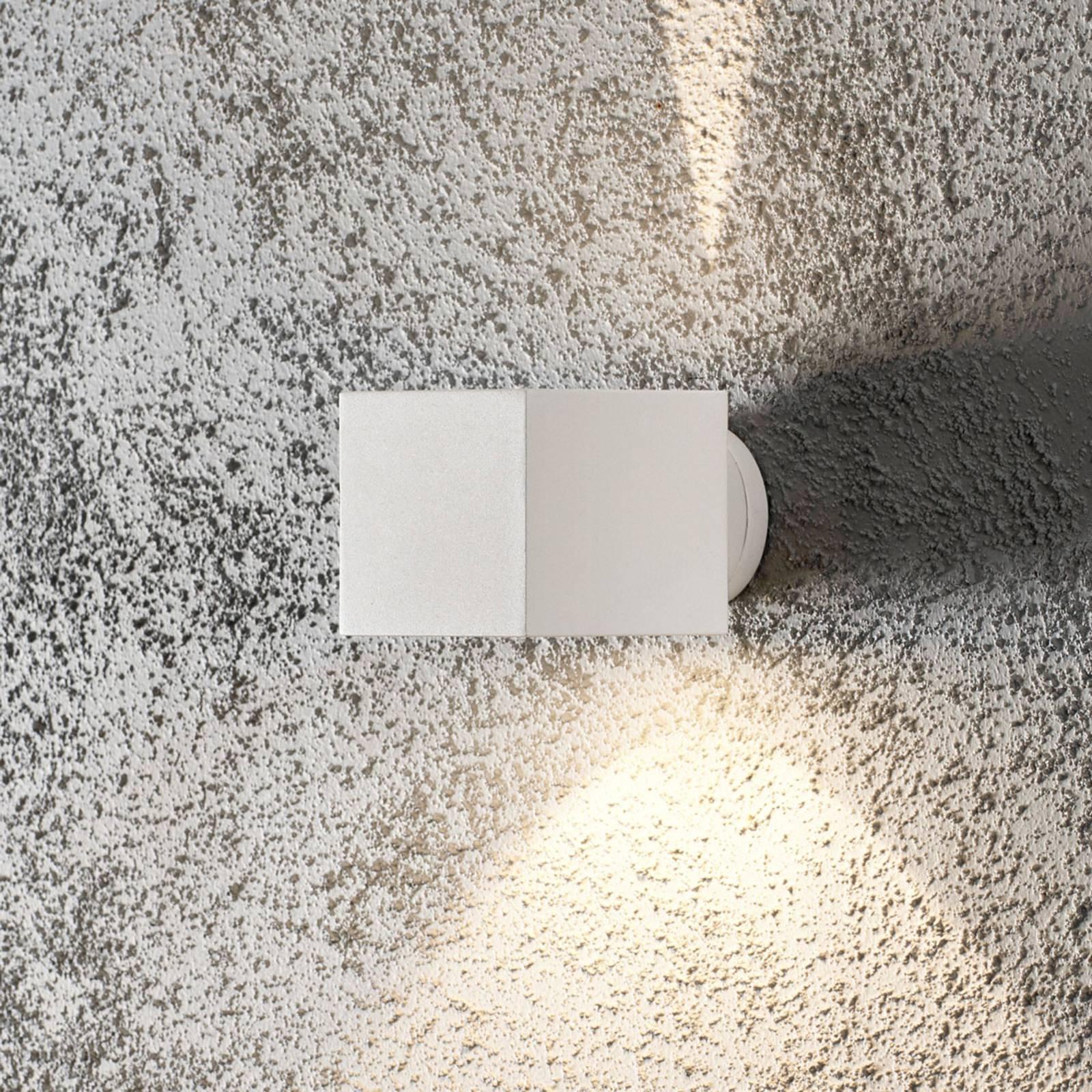 Modena Square utendørs vegglampe, kantet, hvit
