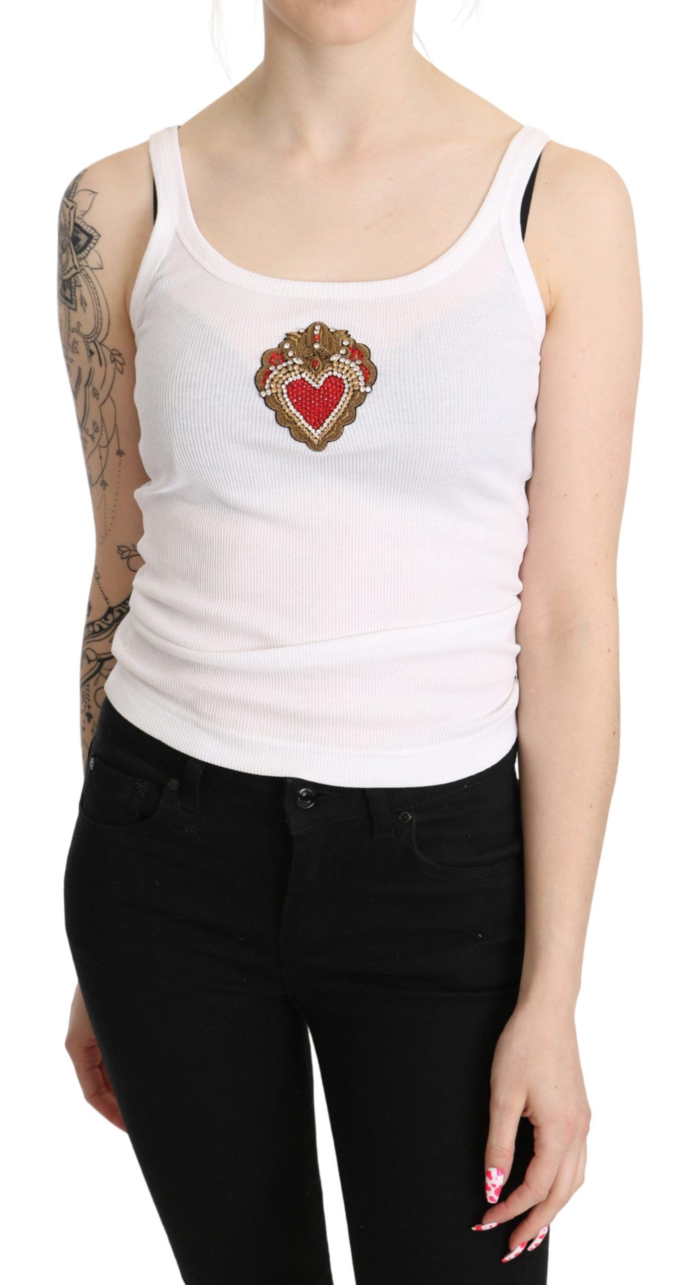 Dolce & Gabbana Women's Heart Cotton Top White TSH5269 - IT36   XS