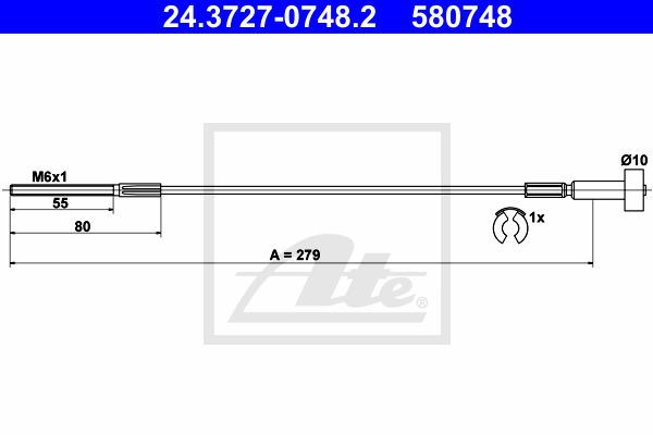 Käsijarruvaijeri ATE 24.3727-0748.2
