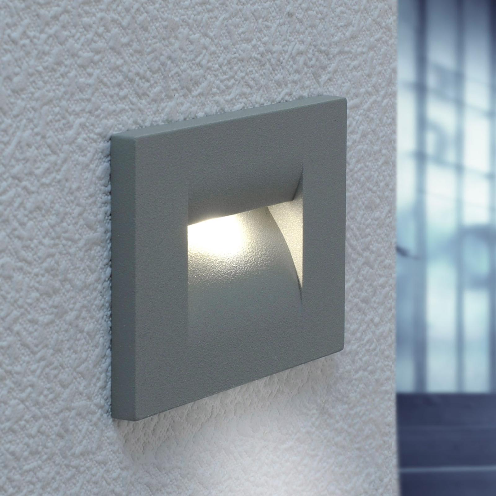Hopeanharmaa LED-upotettava seinävalaisin Nevin