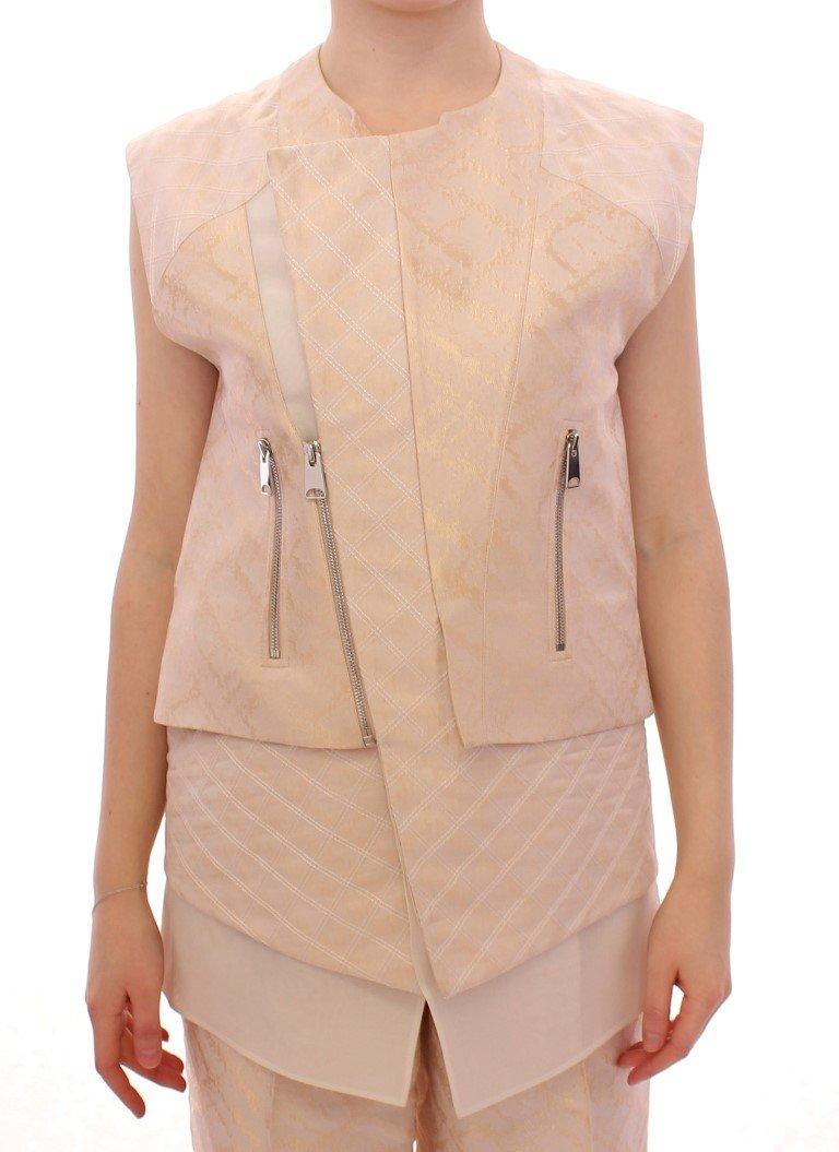 Zeyneptosum Women's Brocade Seeveless Jacket Beige MOM10089 - IT42|M
