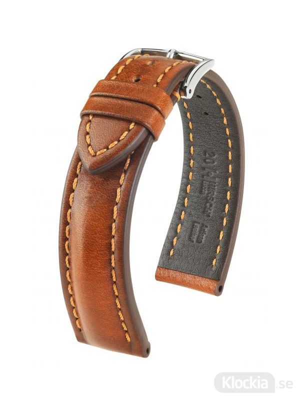 Hirsch Lucca, Artisan Leather 20mm Large Guldbrun/Silver 04902070-2-20