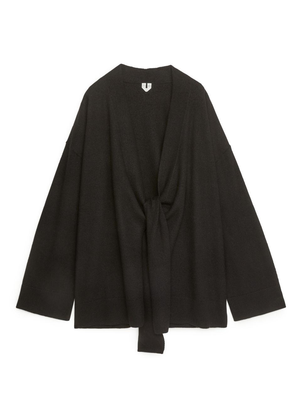 Boiled Wool Wrap Cardigan - Black