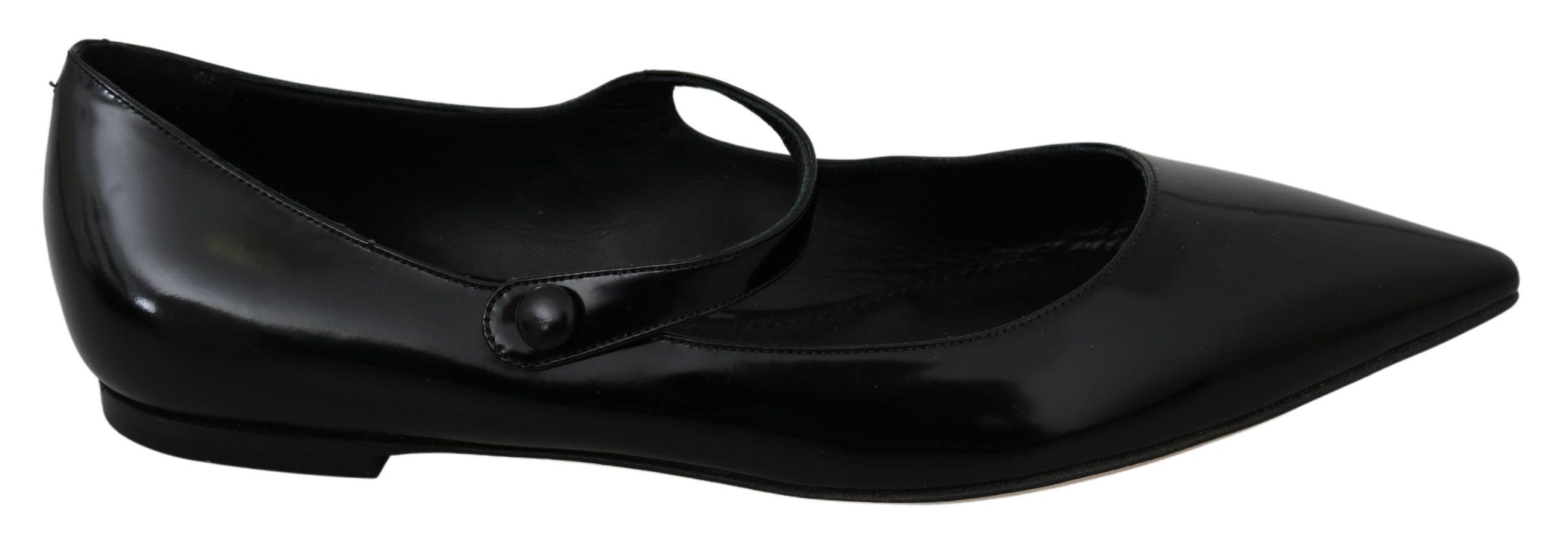 Dolce & Gabbana Women's Leather Ballerina Mary Jane Flats Black LA6946 - EU39/US8.5