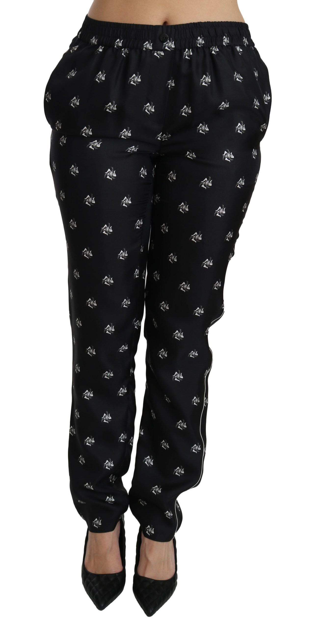 Dolce & Gabbana Women's Printed Mid Waist Skinny Silk Trouser Black PAN70866 - IT42 M