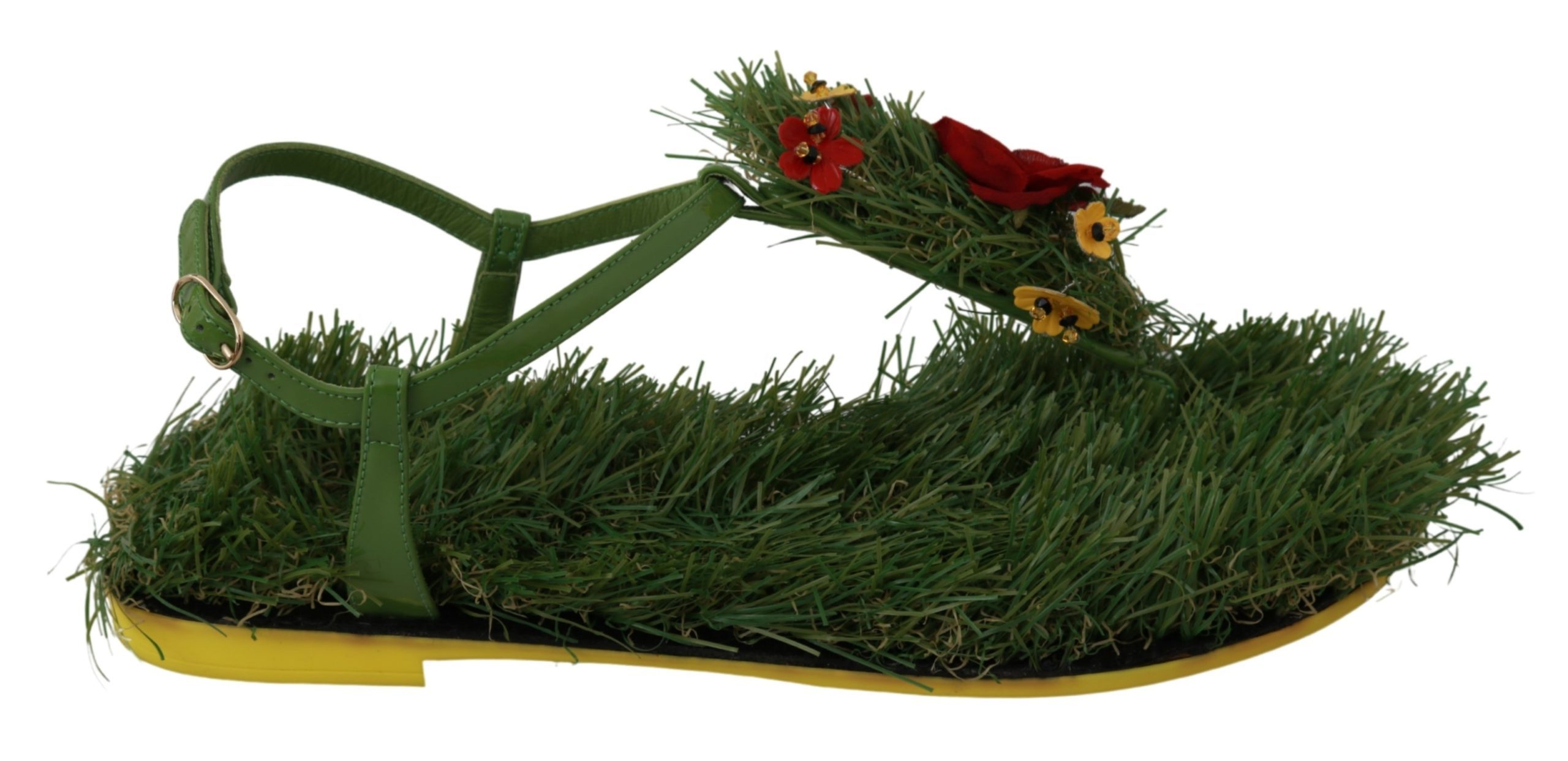 Dolce & Gabbana Women's Leather Grass Floral Sandals Green LA6462 - EU35/US4.5