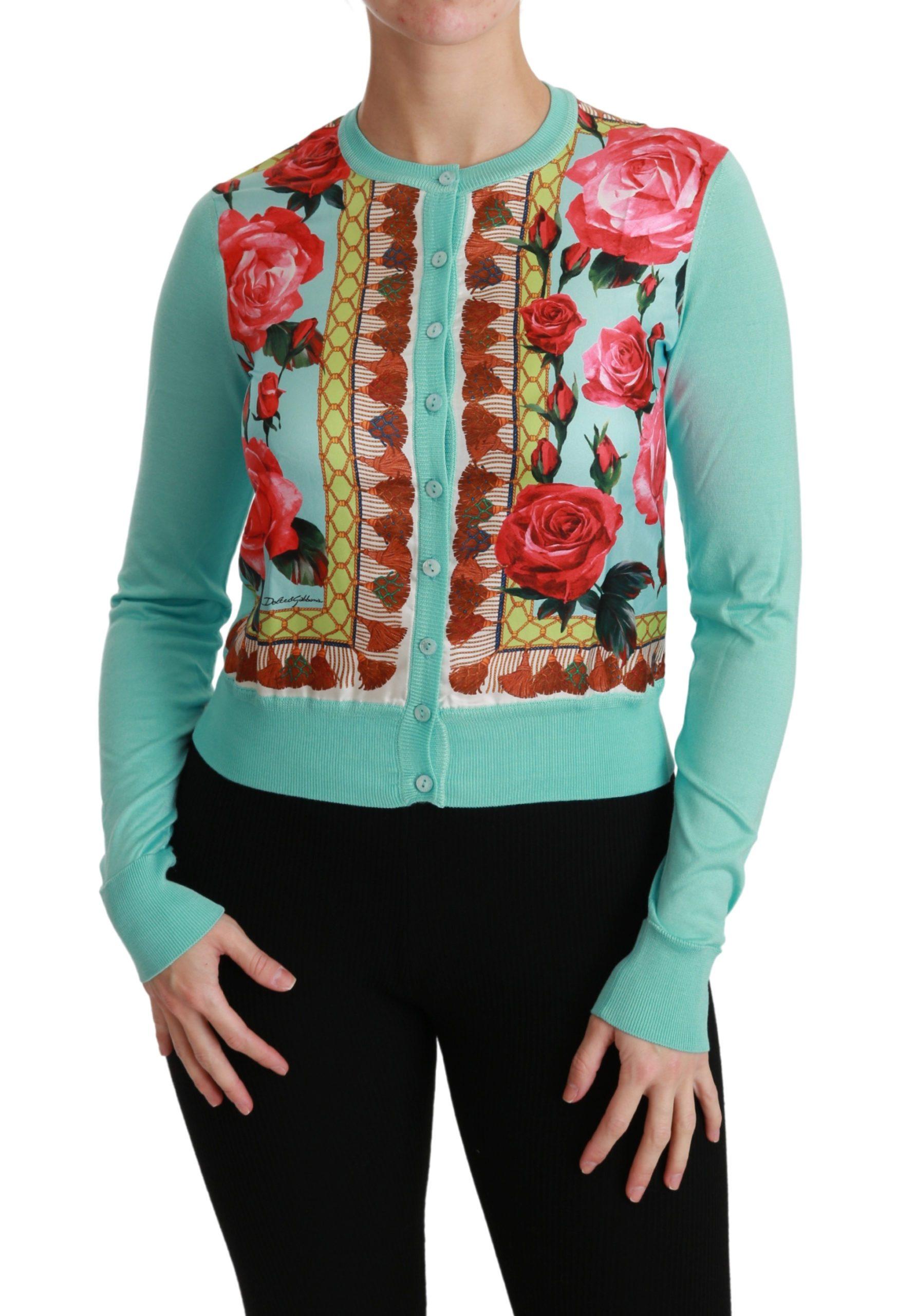 Dolce & Gabbana Women's Roses Floral Silk Cardigan TSH4493 - IT36 | XS