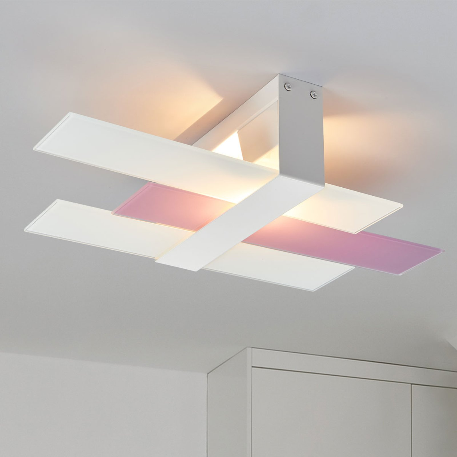Moderne Triad taklampe i hvitt/lilla, 48 cm