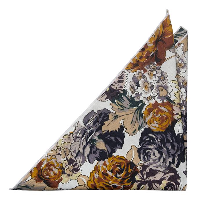 Bomull Lommetørkler, Blomster i beige,hvit, oransje og hvit kant, Notch CALLUM