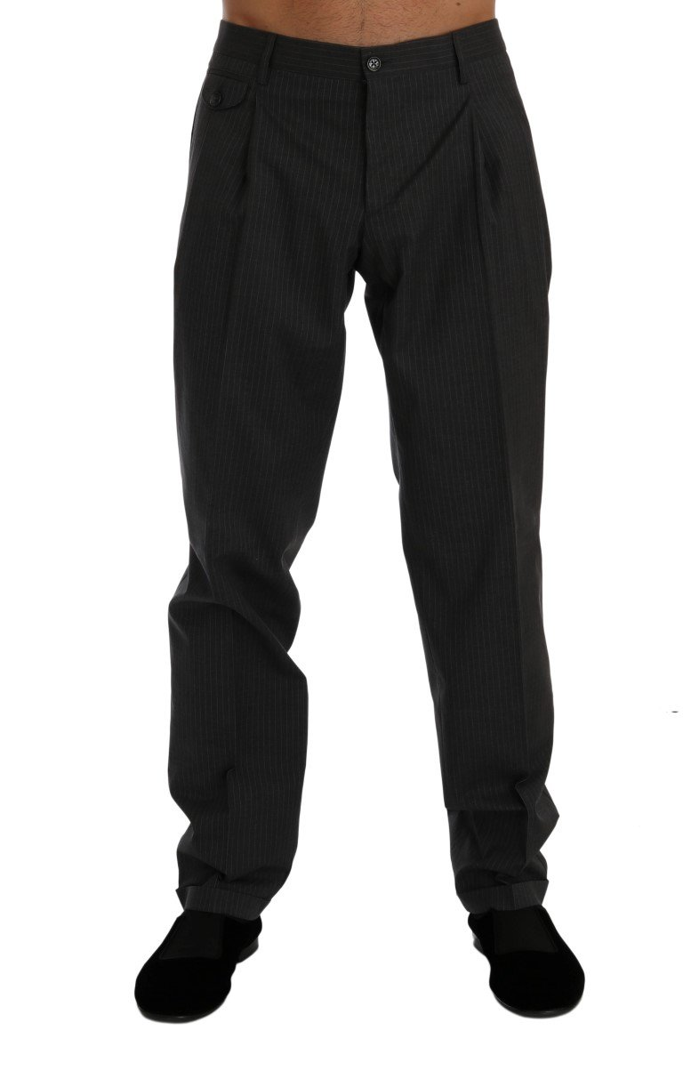 Dolce & Gabbana Men's Striped Cotton Dress Formal Trouser Gray PAN60352 - IT50 | L
