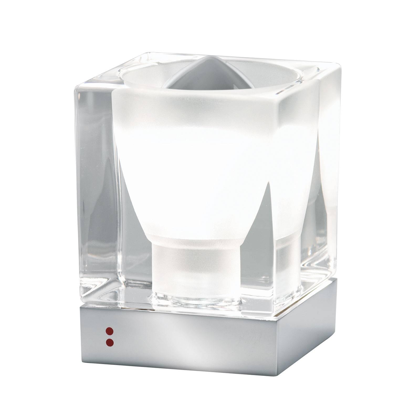 Fabbian Cubetto -pöytävalaisin E14 kromi/kirkas