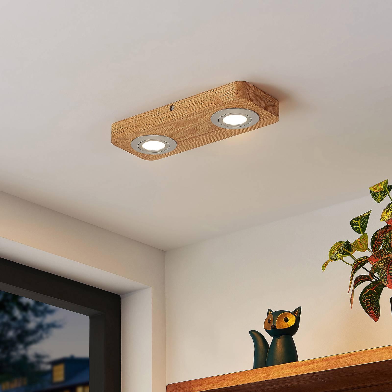 Lindby Mikari -LED-kattovalo puuta, 2-lamppuinen