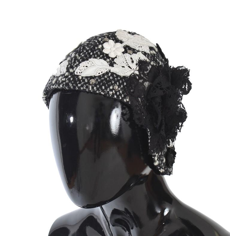 Dolce & Gabbana Women's Wool Floral Lace Studded Cloche Hat Multicolor HAT20027