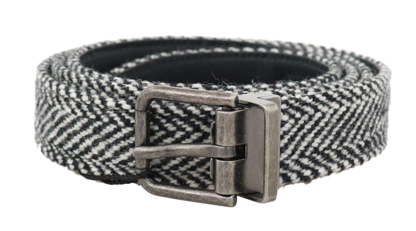 Dolce & Gabbana Men's Chevron Wool Leather Belt Black/White BEL50003 - 100 cm / 40 Inches