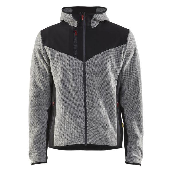 Blåkläder 594025369099XS Jacka stickad, med softshell, gråmelerad/svart Stl XS