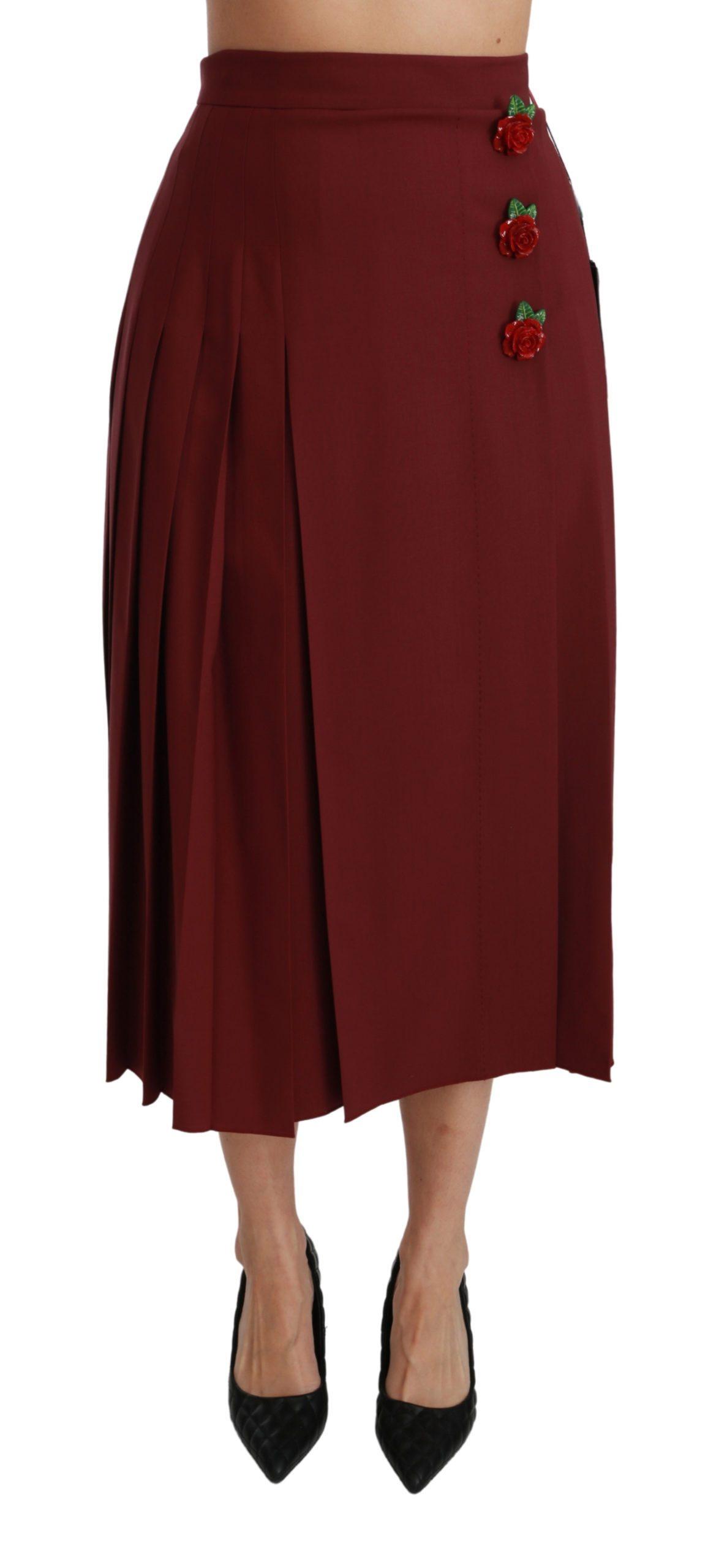 Dolce & Gabbana Women's High Waist Pleated Maxi Wool Skirt Red SKI1416 - IT38 XS