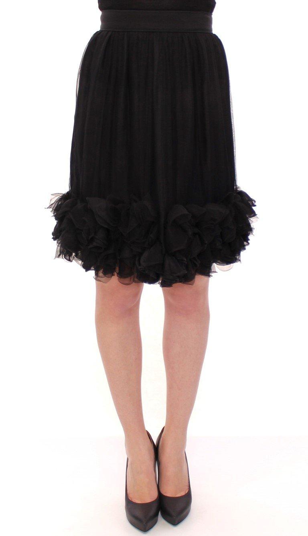 Black Silk Transparent Above Knees Skirt - IT40|S