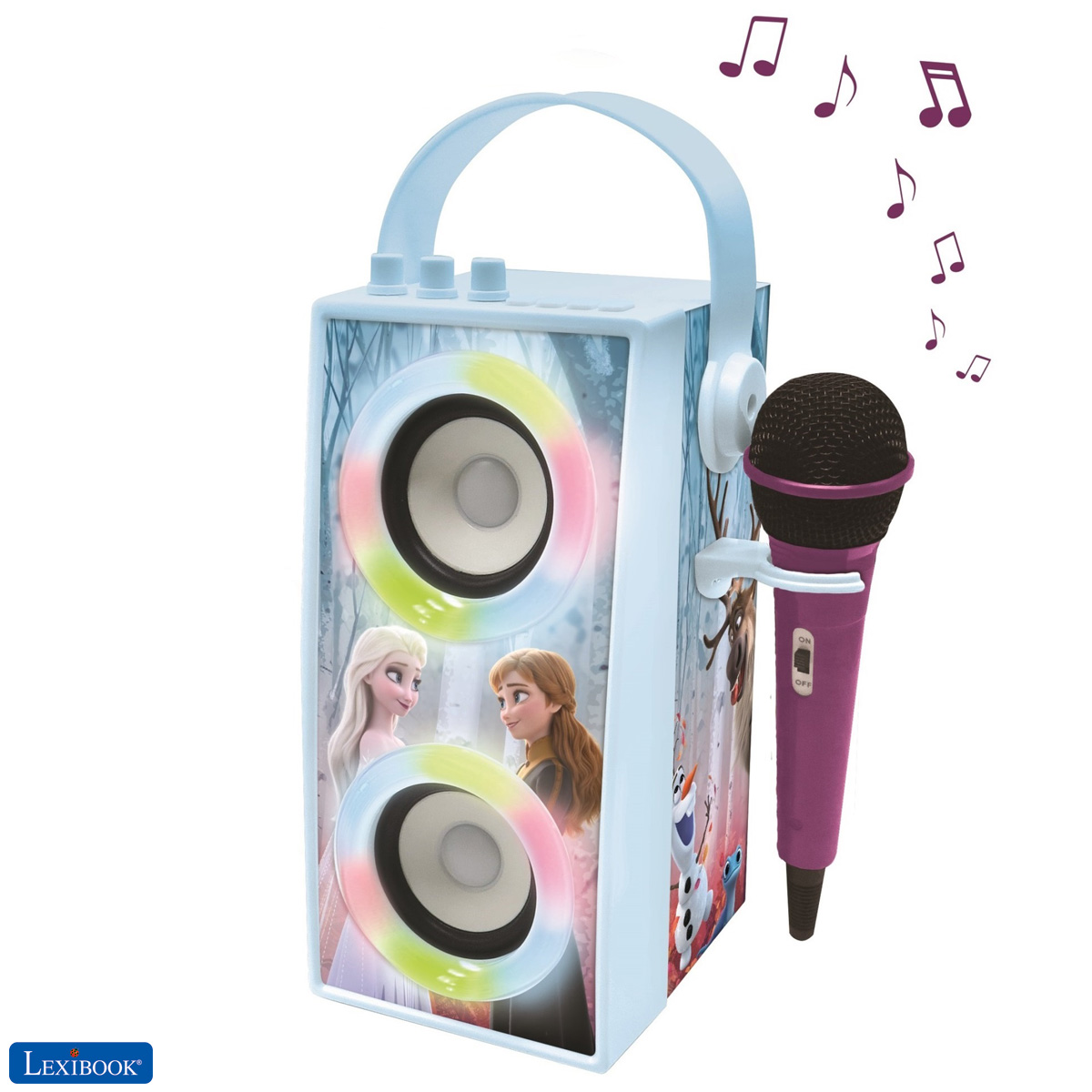 Lexibook - Frozen Trendy Portable Bluetooth Speaker with mic and amazing lights effects (BTP180FZZ)