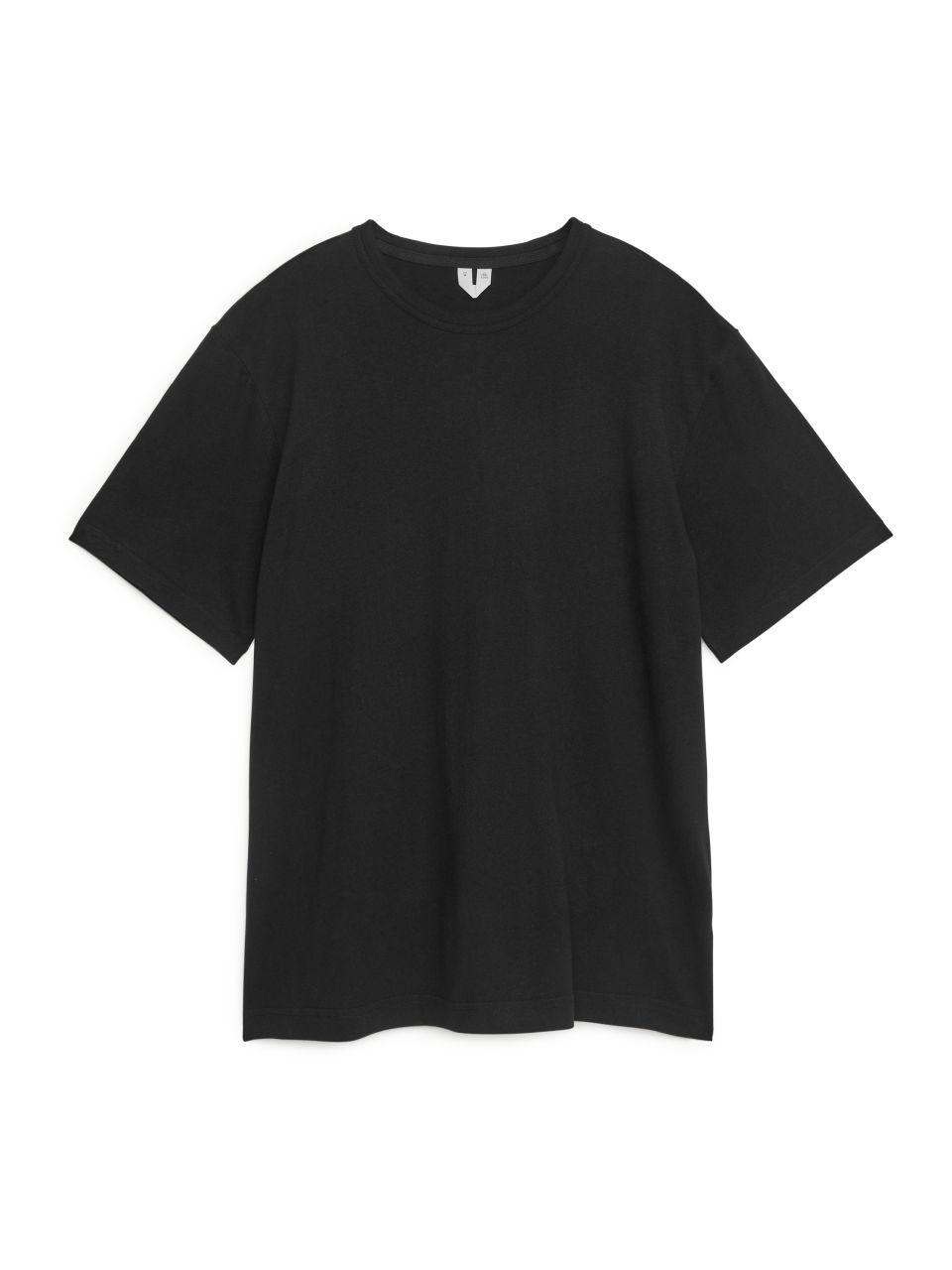 Cotton Linen T-Shirt - Black