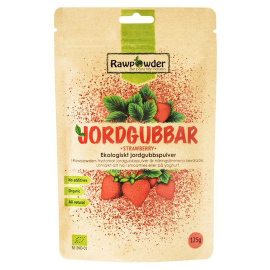 Rawpowder Ekologiskt Jordgubbspulver Frystorkat, 125 g