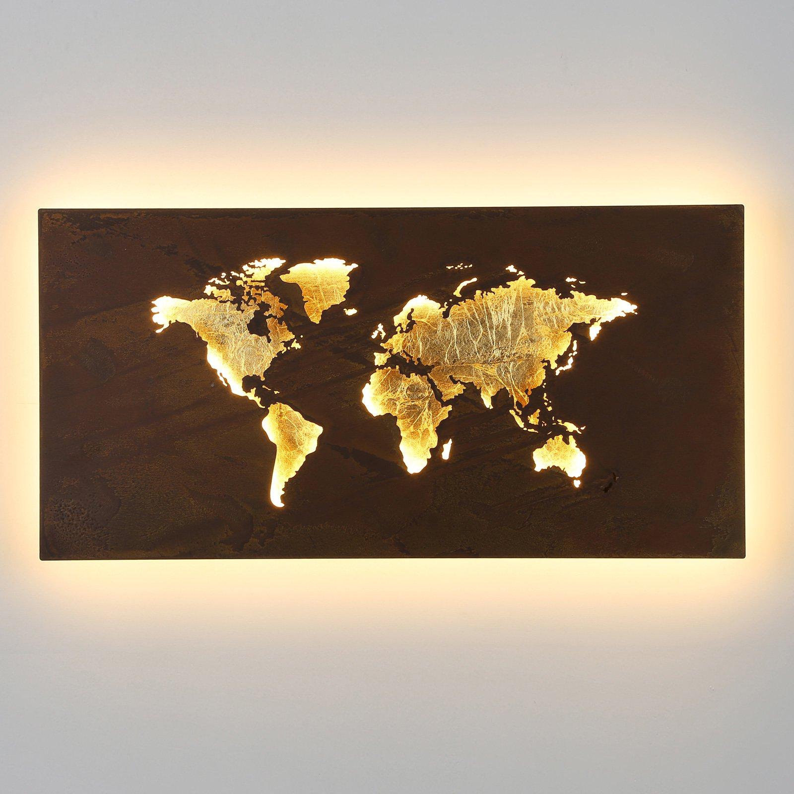 LED-vegglampe Linda i kartdesign gull