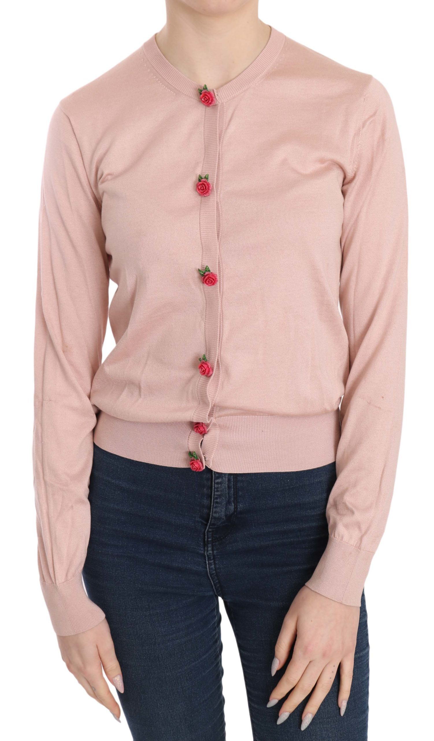 Dolce & Gabbana Women's Roses Silk Cardigan Pink TSH3646 - IT42 M
