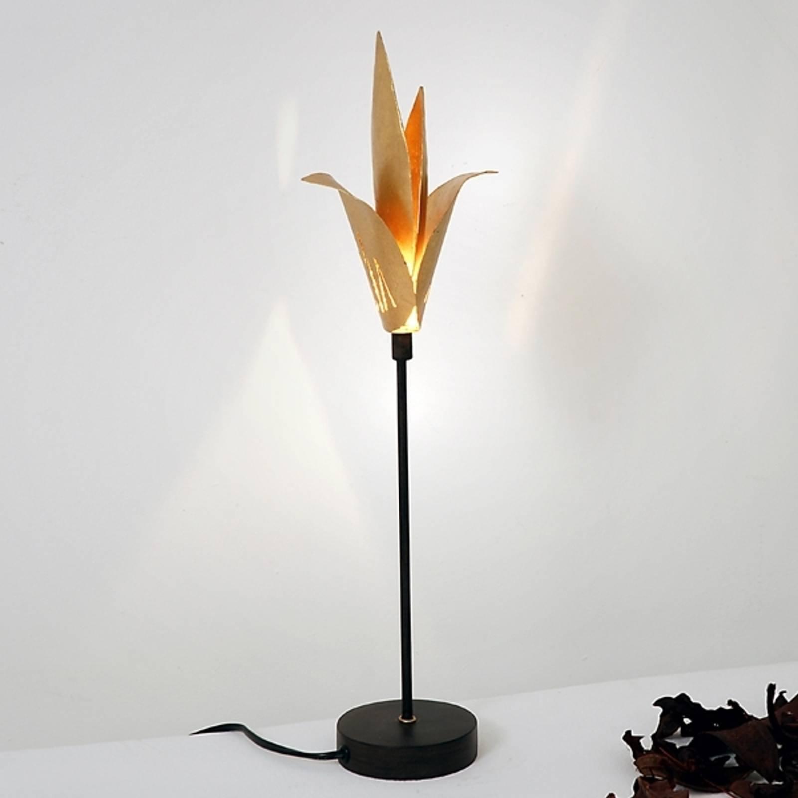 Eksklusiv bordlampe AIRONE med gyllen blomst