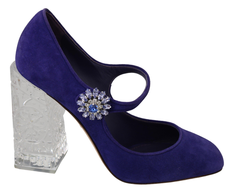 Dolce & Gabbana Women's Suede Crystal Mary Jane Pumps Purple LA6852 - EU39/US8.5