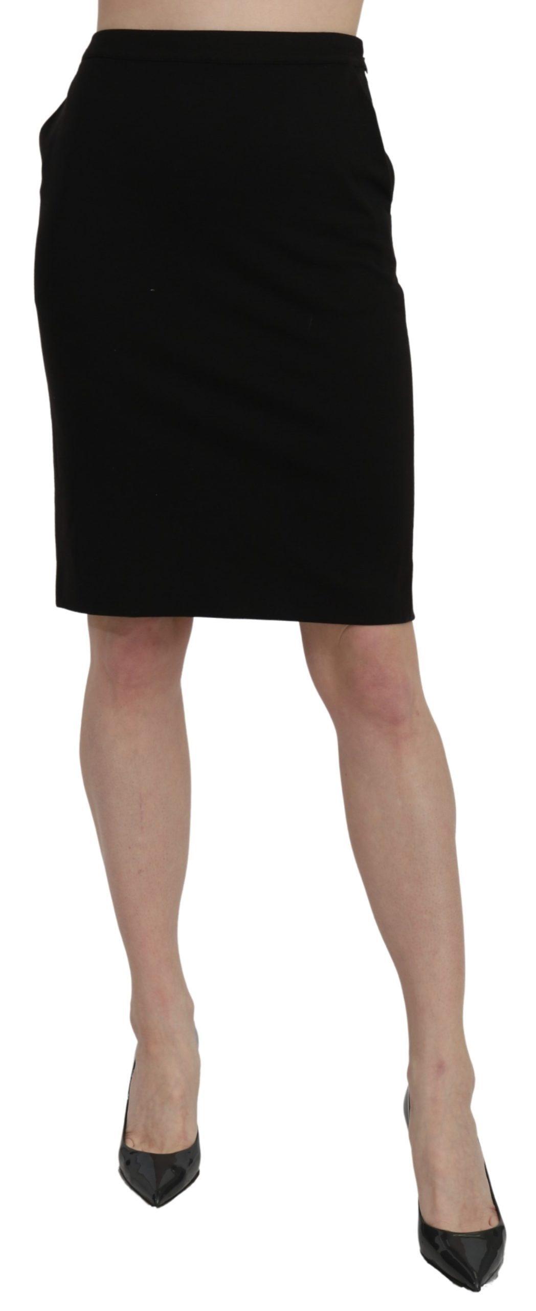 GF Ferre Women's High Waist Pencil Cut Formal Skirt Black SKI1398 - IT40|S