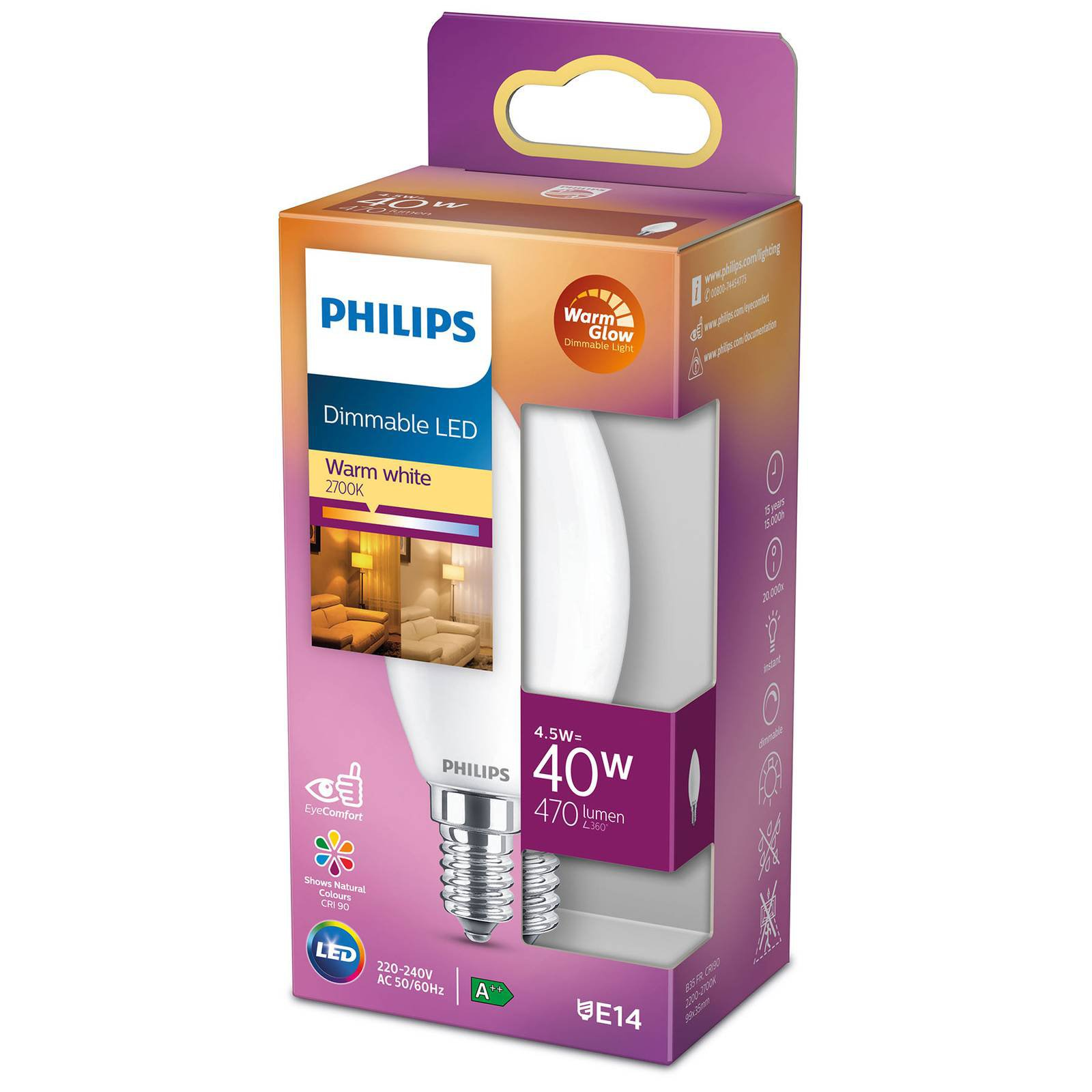 Philips LED Classic WarmGlow E14 B35 4,5 W matt