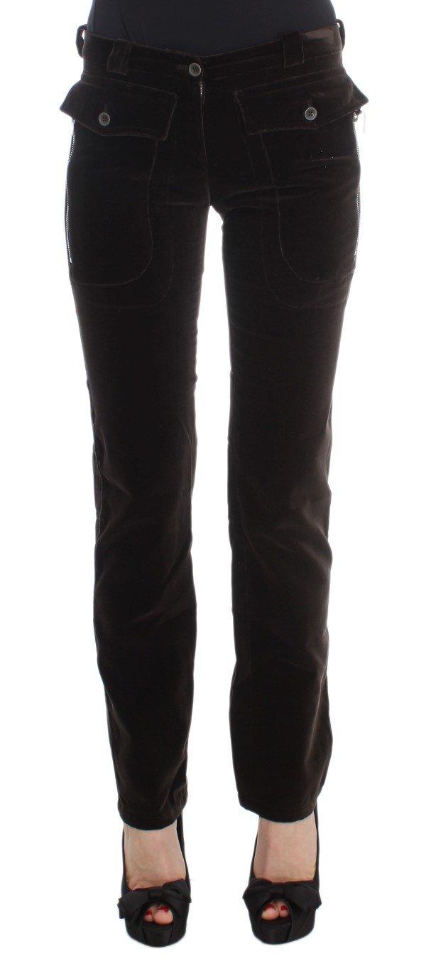 Ermanno Scervino Women's Zippers Slim Fit Trouser Brown SIG30404 - IT40|S