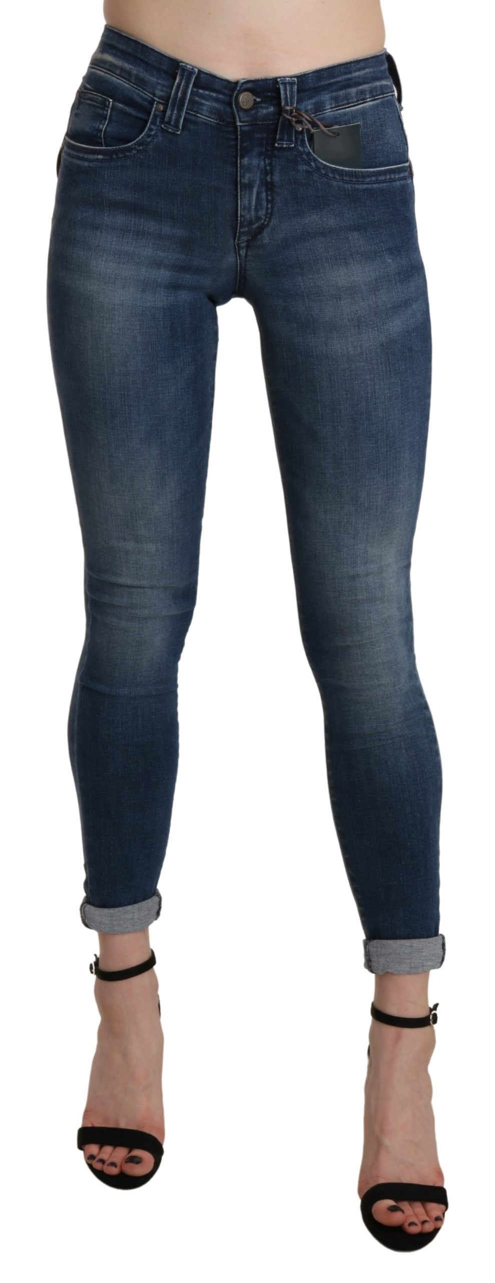 Blue Washed High Waist Skinny Cropped Cotton Jeans - W28