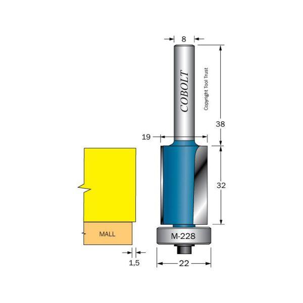 Cobolt 205-024-M228 Reunajyrsin kuulalaakeri karkeaa profilointia varten