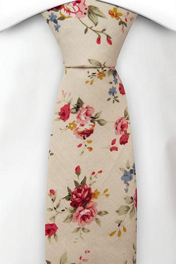 Bomull Smale Slips, Rosa, røde, blå & gule blomster på sjampagne, Notch FERRIS