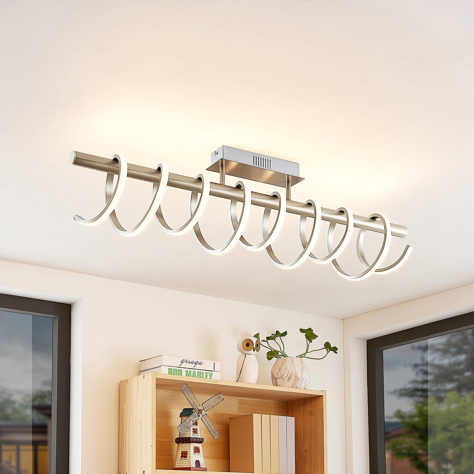 Lucande Milora LED-taklampe 100 cm, nikkel
