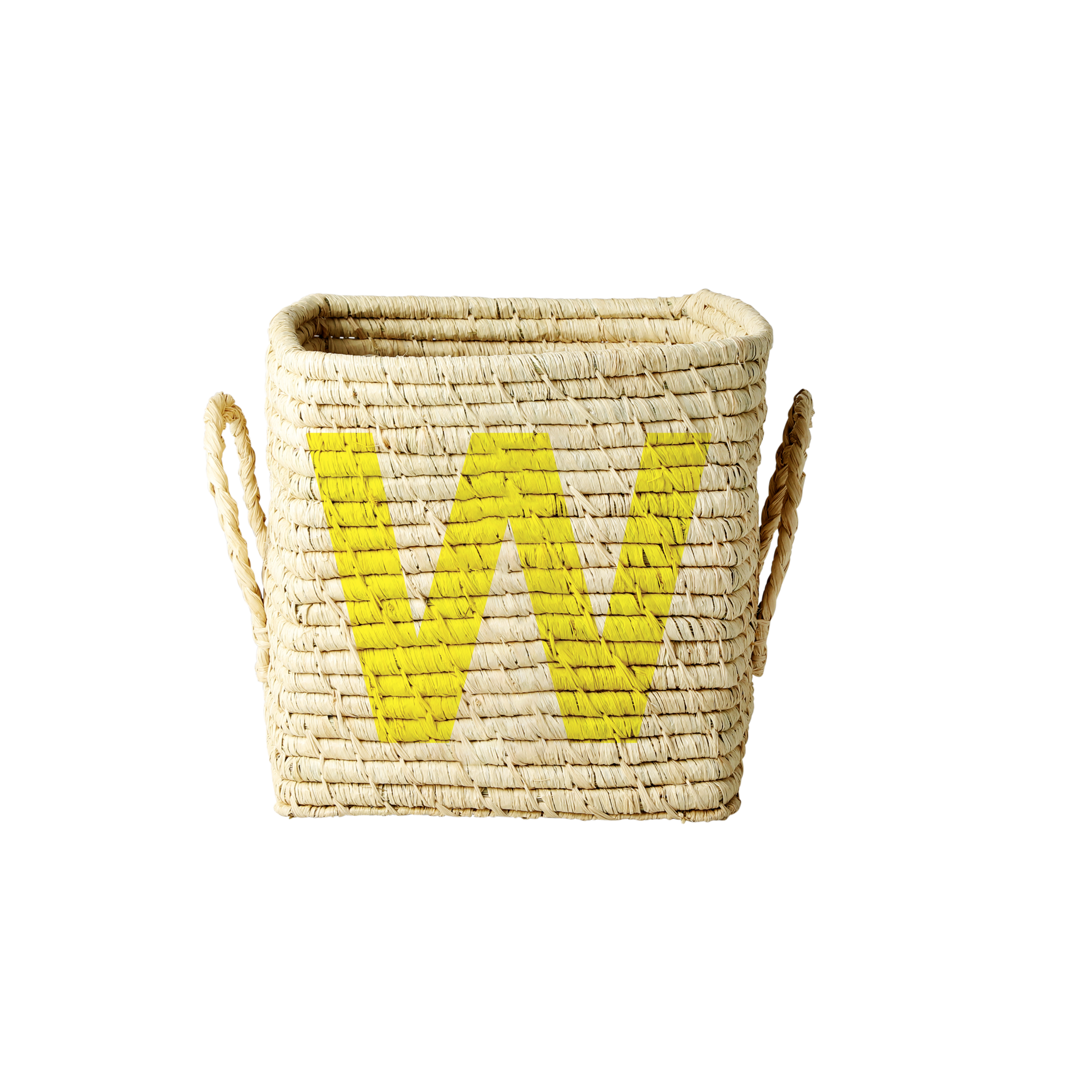 Rice - Raffia Square Basket w. Painted Letter - W