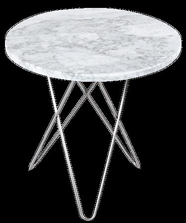 Tall Mini O Table Hvit Marmor Rustfri Stålramme Ø50