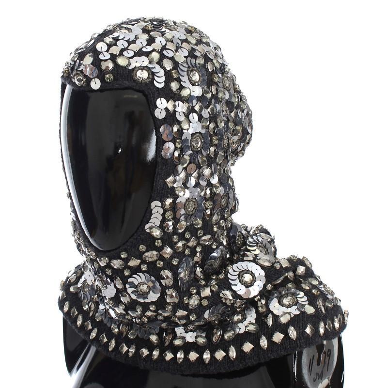 Dolce & Gabbana Women's Crystal Sequin Hood Scarf Hat Gray MS905