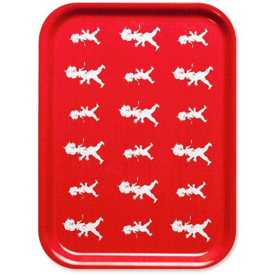 Solstickan Design Bricka Röd Repeterande 27x23